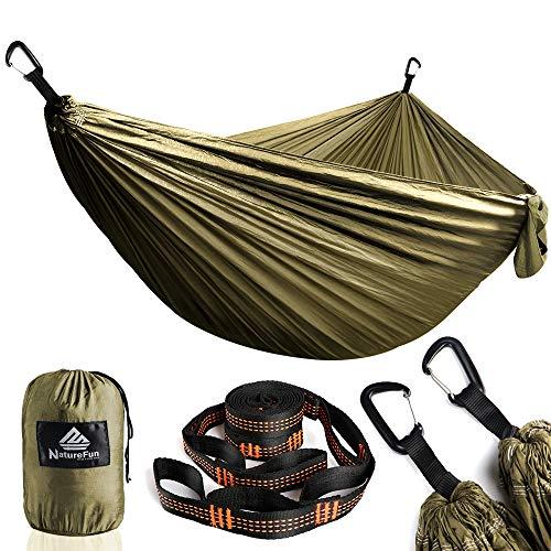 NATUREFUN Hamac Camping Voyage Ultra léger | Capacité de Chargement de 300kg, (300 x 200 cm) resprant, Nylon Parachute séchage Rapide | 2 x Premium Carabiners, 2 x elingues en Nylon Compris