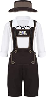 YiZYiF Oktoberfest Costume Traditional German Boy Uniform Suspender Shorts with Shirt and Hat Outfits Clothes Set