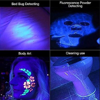 2 Pack UV Flashlight Black Light, Escolite 51 LED 395nm Ultraviolet Blacklight Detector for Dry Pet Urine and Bed Bug 5