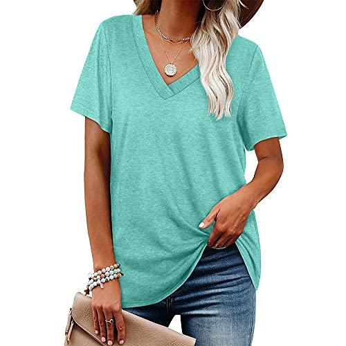 PANBOB Women Blouse Comfortable V-Neck Solid Color Loose Version Short Sleeve Women Top Generous Casual Breathable Elasticity Collocation Unique Simplicity Women Shirt K-Light Green L