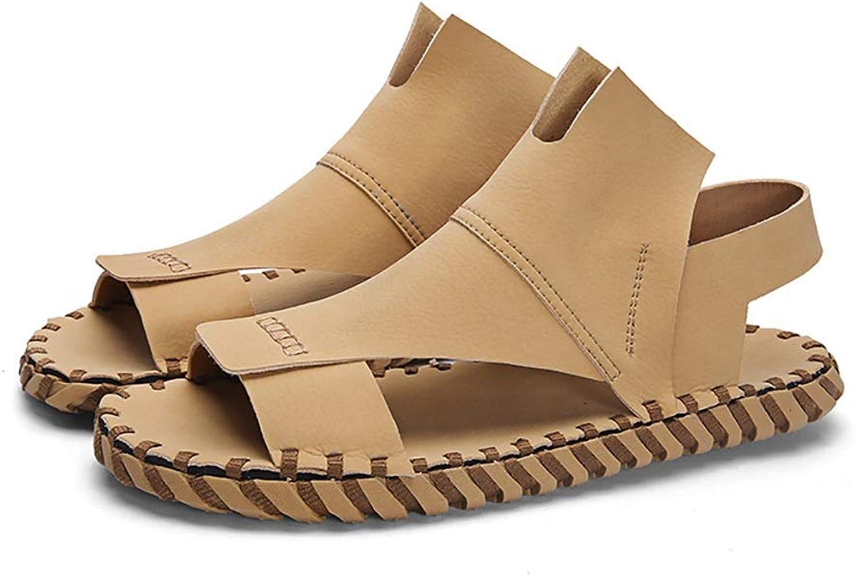 LQ Men's sandals flip flops Summer youth men's leather sandals, rubber non-slip wear-resistant adhesive shoes, leaking toe microfiber leather breathable shoes (color   Apricot, Size   5.5 UK)