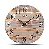 Cander Berlin MNU 8035 - Reloj de pared de madera, 35 cm, silencioso, vintage, madera maciza, moderno