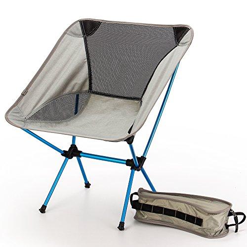 Silla De Camping Plegable Silla Moon Leisure Ideal Para Acambaca/Senderismo/Viaje/Caza/Pesca Bolsa De Transporte Silla Ligera Marco De Acero Fuerte Ultralight Aleación De Aluminio(Gris)