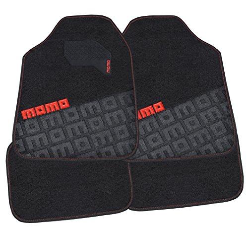 MOMO Carpet Car Mats, Black/Red, Full Set of 4
