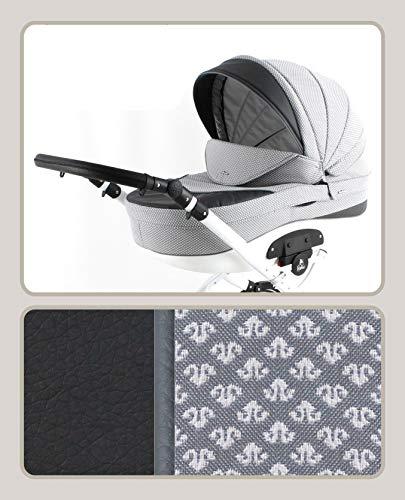 Kinderwagen 3in1 2in1 Isofix Schwenkreifen gefedert Buggy Autositz Tor by ChillyKids Grey Pattern T-09 4in1 Autositz +Isofix