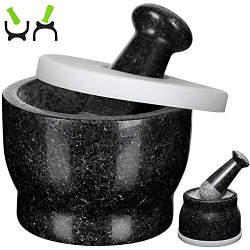 Cosyland Mortar and Pestle Set, Silicone Cover & Mat, 5.45 inch 17 Oz 2.1 Cup Capacity, Pill Crusher Food Safe, Solid Stone Spice Grinder, Herb Bowl Black