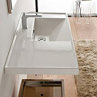 Scarabeo 3009-One Hole ML Rectangular Ceramic Self Rimming/Wall Mounted Bathroom Sink, White