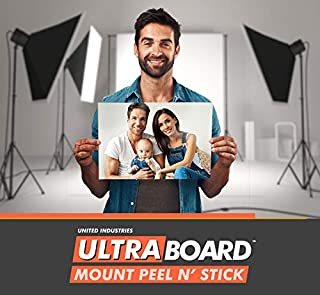 """UltraBoard Mount Peel N' Stick - 3/16"""" Thick Self-Stick Adhesive Foam Core Mount Board or Mat Backer for Photo Mounting (24 Pack) (White, 8"""