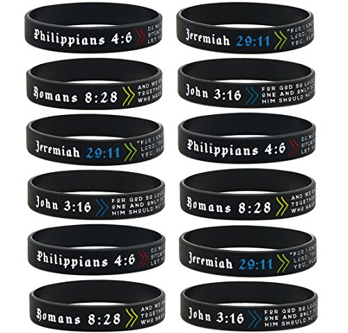 Ezekiel Gift Co. (12-Pack) Assorted Bible Verse Bracelets - Wholesale Bulk Pack of Religious Silicone Rubber Wristbands for Men Women Teens