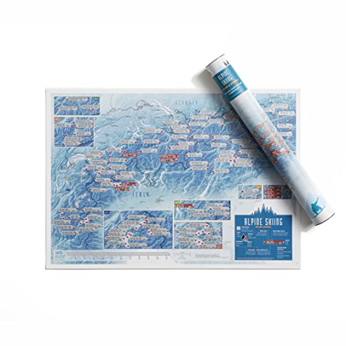 Alpine Skigebiete zum Rubbeln – Maps International – Poster als Geschenk für Ski-/Snowboard-Enthusiasten – Alpen Gipfel – Geschenkröhre – A2-Format 59,4 (h) x 42 (b) cm