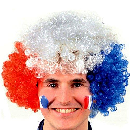 Vococal® Perruque Pelotonner Faux Cheveux Football Fans Halloween Fancy Dress Decorative France Couleur Drapeau