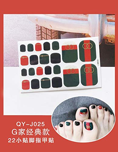 BGPOM Foot Stickers Nail Stickers Nail Stickers Fully Waterproof Lasting 3D Toenail Stickers Patch 10 Sheets/Set,G Home (QY-J025)
