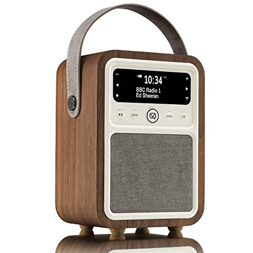 VQ Monty HD Digital Radio with AM & FM, Bluetooth & Alarm Clock ShortWave Radio – Real Wood Case Walnut
