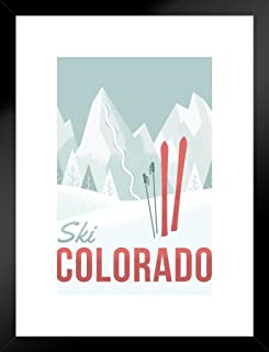Poster Foundry Ski Colorado Travel Retro Matted Framed Wall Art Print 20x26 inch