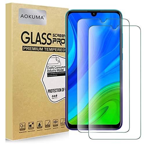 AOKUMA Cristal Templado Huawei P Smart 2020, [2 Unidades] Protector Pantalla para Huawei P Smart 2020 Robusto Antiarañazos Antihuellas con Borde Redondeado Dureza 9H Antiburbujas