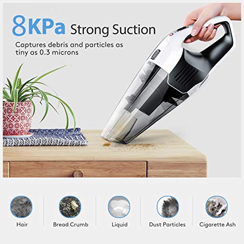 Holife Handheld Vacuum Cleaner, Cordless Hand Held Car Vac Cleaner (100W Vacuum Cleaner, 14.8V Lithum-ion Rechargeable Battery) with Stainless Steel for Pet Hair