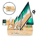 AICase Station de Charge avec qi Chargeur, Station de rechargement avec Stations d'accueil USB à 5 Ports pour Apple iPhone iPad iwatch Samsung Smartphones Tablettes