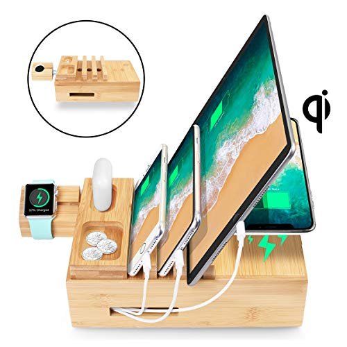 AICase USB Ladestation Mehrfach 5-Port dockingstation USB Ladegerät und Wireless Charger Qi Ladestation für AirPods/ipad/iwatch iPhone Handy und Tablet