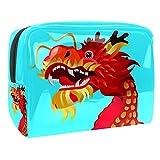 Bolsa de Maquillaje para niños Dragón Azul Rojo Accesorio de Viaje Neceser Pequeño Bolsas de Aseo Impermeable Cosmético Organizadores de Viaje 18.5x7.5x13cm
