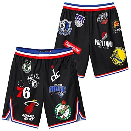 YDHZ Nuggets Búcks Requiere Céltice 76érs Rockets Súnis All-Stár Baloncesto Pantalones Jersey Black-S
