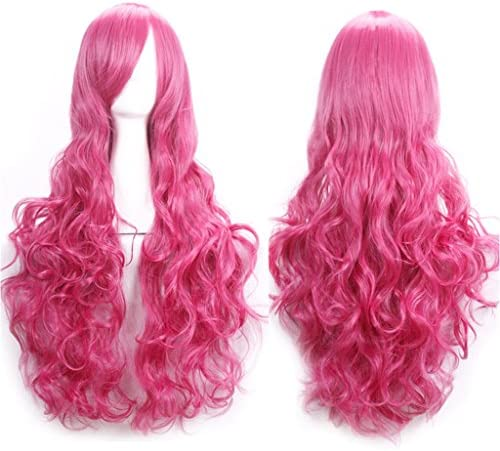 AneShe 32 Fascinating Long Spiral Curly Hair Wig Costume Cosplay Party Wigs Hot Pink product image
