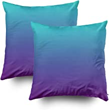 EMMTEEY Home Decor Throw Pillowcase for Sofa Cushion Cover,Halloween Turquoise Purple Ombre Decorative Square Accent Zippered and Double Sided Printing Pillow Case Covers 18X18Inch,Set of 2