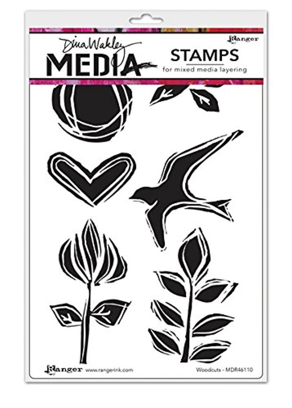 Ranger Woodcuts Dina Wakley Media Cling Stamps, 6 by 9