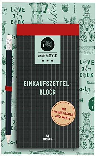 moses. 80627 Cook und Style Einkaufszettelblock mit Bleistift, Magnetischer Notizblock für Die Küche