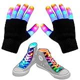 Led Finger Gloves, Led Gloves LED Shoelaces Set Light Up Toys for Boys Girls, Flashing Gloves for Christmas Thanksgiving Birthday Glow Halloween Costume Party LED