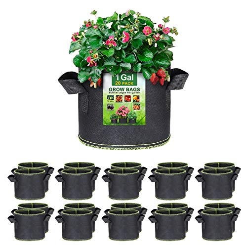 SunArea 20-Pack 1 Gallon Grow Bags, Thickened Nonwoven Aeration Fabric Pots with Reinforced Handles, Heavy Duty Plant Grow Bag for Gardening