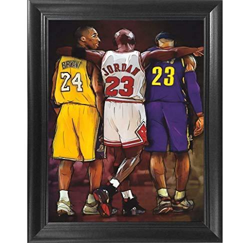 NBA Legends Kobe Bryant, Lebron James & Michael Jordan Poster Wall Art Decor Framed Print (No Glass) | 12x16 | Posters & Pictures | NBA Basketball All Star Tribute Fan Gift for Guys & Girls Bedroom