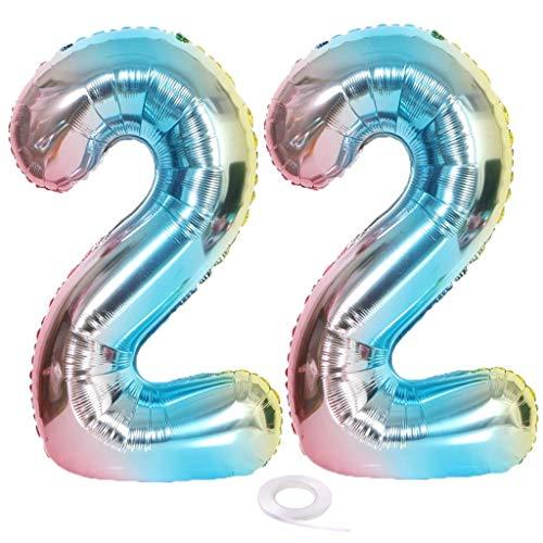 SNOWZAN Globo con número 22 XL con el número 22. Globo arcoíris para globos con número 22 para decoración de cumpleaños color iridiscente 22 años 32 pulgadas helio gigante para fiesta de cumpleaños