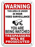 "Mysignboards Warning This Property Under 24 Hour Video Surveillance 7""x 11"" Sign Security CCTV You are Being Watched Rust Free Outdoor Waterproof Fade Resistant UV Protective Ink"