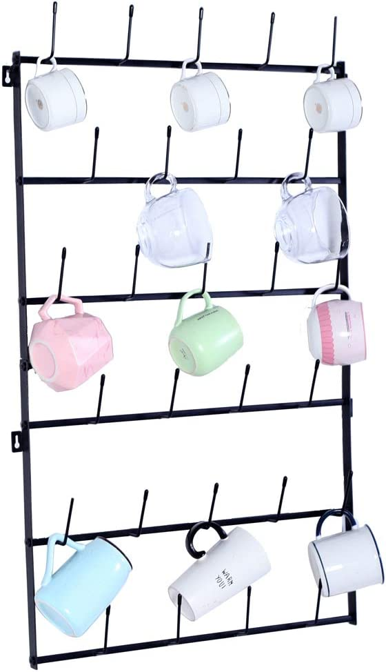 Mug Rack Max 40% OFF Cup Al sold out. Holder Wall Mounted with O Display 6-Tier Hooks