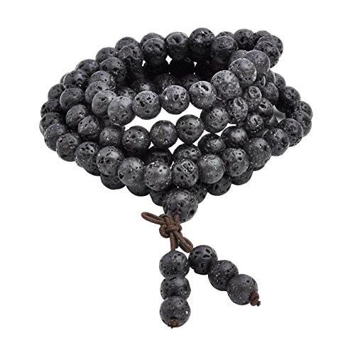 Jovivi 8mm 108 Perlen Tibetisches Buddha Armband mit Rudraksha Wickelarmband Buddhismus Mala Kette Gebetskette Energietherapie Yoga Halskette Schmuck/Lavastein