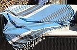 Très Grande fouta XXL Aube Tahiti – 150 x 250 cm – Bleu Turquoise, Bleu Jean et Bandes Blanches – Drap de Plage XXL – 100% Coton Doux