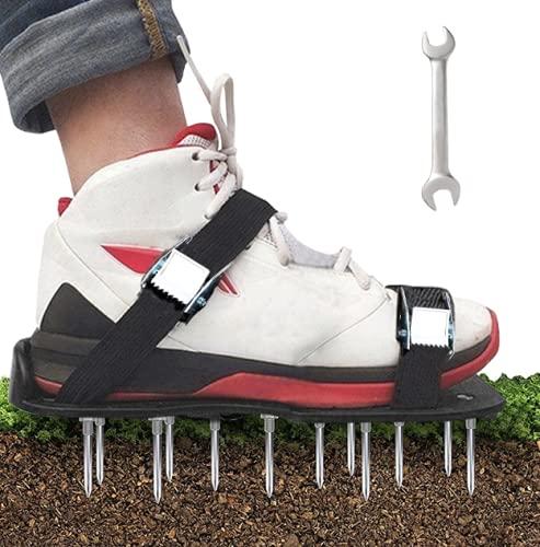 YADIMI Zapatos de aireador, Césped Zapatos, Césped Spikes Sandalias con 4 Correas Ajustables, para tu Césped, Jardín, Jardinería