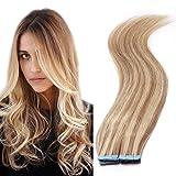 Silk-co Extensiones Adhesivas de Cabello Natural con Cinta Adhesiva (20Pcs*1.5g) Pelo Humano 100% Remy Hair #18P613 Ash rubio & Blanqueador rubio 45cm-30g