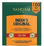 VAHDAM, Bolsas Se Té Masala Chai latte Originales de la India, 100 bolsas de té, 100% de especias naturales y mezcladas y envasadas en la India: té negro, cardamomo, canela, pimienta negra y clavo