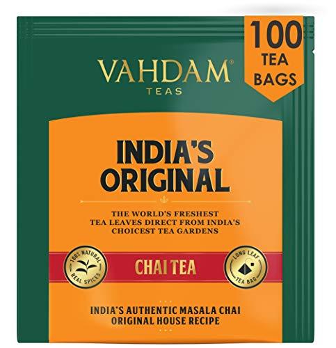 VAHDAM, Indiens Original Masala Chai Teebeutel, 100 Teebeutel, 100% natürliche Gewürze & KEIN ZUGEFÜGTER GESCHMACK - Schwarzer Tee, Kardamom, Zimt, schwarzer Pfeffer & Nelke