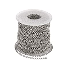 Feature: soldered 304 stainless steel curb chains, stainless steel color. Size: about 4mm long, 3mm wide, 0.6mm thick. Length: about 25 meters(82 feet, 27.34 Yards). Material: made of 304 stainless steel, they are strong, resistance to rust, oxidatio...