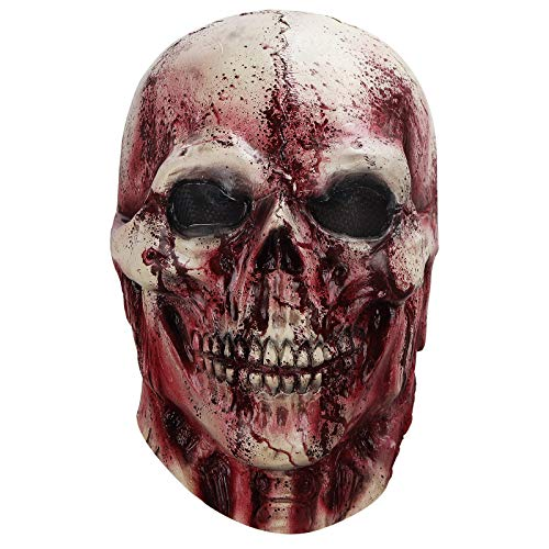 MOLEZU Máscara de miedo de Halloween, disfraz de zombi, cráneo, accesorio para fiesta de adultos