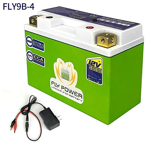 Universal FLY9B-4 12V CCA 350A 72Wh LiFePO4 Motorcycle Engine Start Battery with BMS Smart Battery 12V Lithium Iron Phosphate Scooter Batteries For Yamaha Suzuki Harley BMW Kawasaki 5.9x2.7x4.1inch