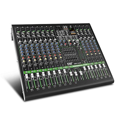 XTUGA MRV122FX 12Channels Audio Mixer Sound board Ultra-fashion of all metal chassis with digital display MP3,Bluetooth,EQ,Effects Used for DJ Stage Party