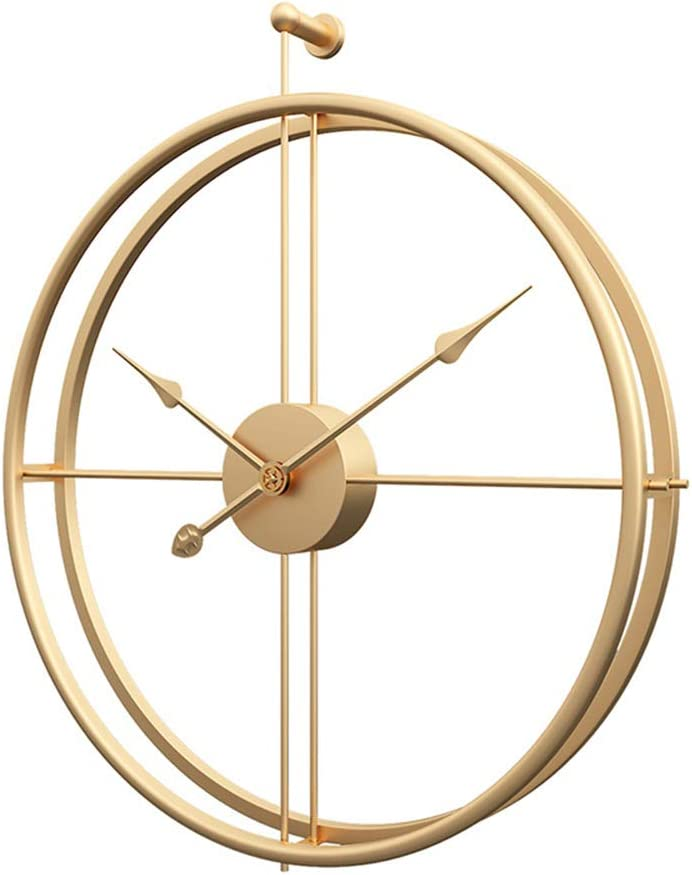 Modern Wall Clock - Metal Large Wall Clock Battery Operated Round Wall Clock, Modern Home Decor Ideal for Living Room, Kitchen, Office (Gold, 20 Inch)
