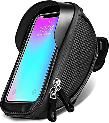 Bike Frame Bag,eletecpro Bike Phone Front Bag Bicycle Phone Mount Bag Waterproof Handlebar Bike Phone Case Holder Sensitive Touch Screen (Black)