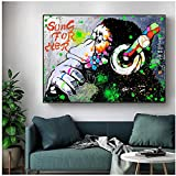 Pop Street Graffiti Monkey pintura al óleo sobre lienzo carteles artísticos de pared impresiones cuadros de pared para sala de estar decoración de cuadros de pared para el hogar