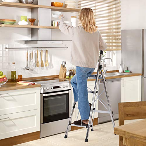 xaestival Lionladder 4 Step Stool Aluminum Ladder Portable Folding Anti-Slip with Rubber Hand Grip 330lbs Capacity,Silver Household Stepladders