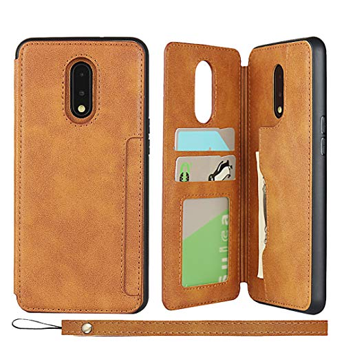 Zouzt Compatible with oneplus 7 Wallet Case with Card Holder Hand Strap Premium PU Leather Case Kickstand, Magnetic Durable Shockproof Phone Back Cover with Lanyard for 7 (Light Brown)