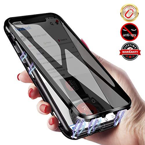 Elewelt Magnetische Hülle für iPhone XR mit Sichtschutz, Anti Peep Magnetic Hülle mit Doppelseitigem Gehärtetem Panzerglas, 360 Grad Magnet Schutzhülle für iPhone XR 6.1 Zoll [Schwarz]